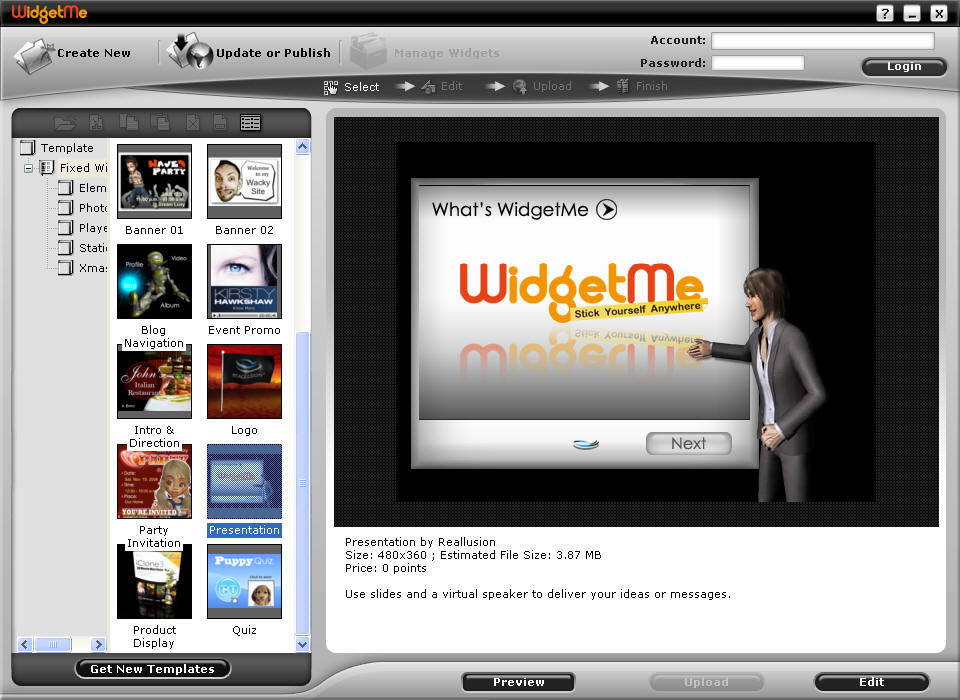 WidgetMe is a media content service that helps users create flash content. great Screen Shot